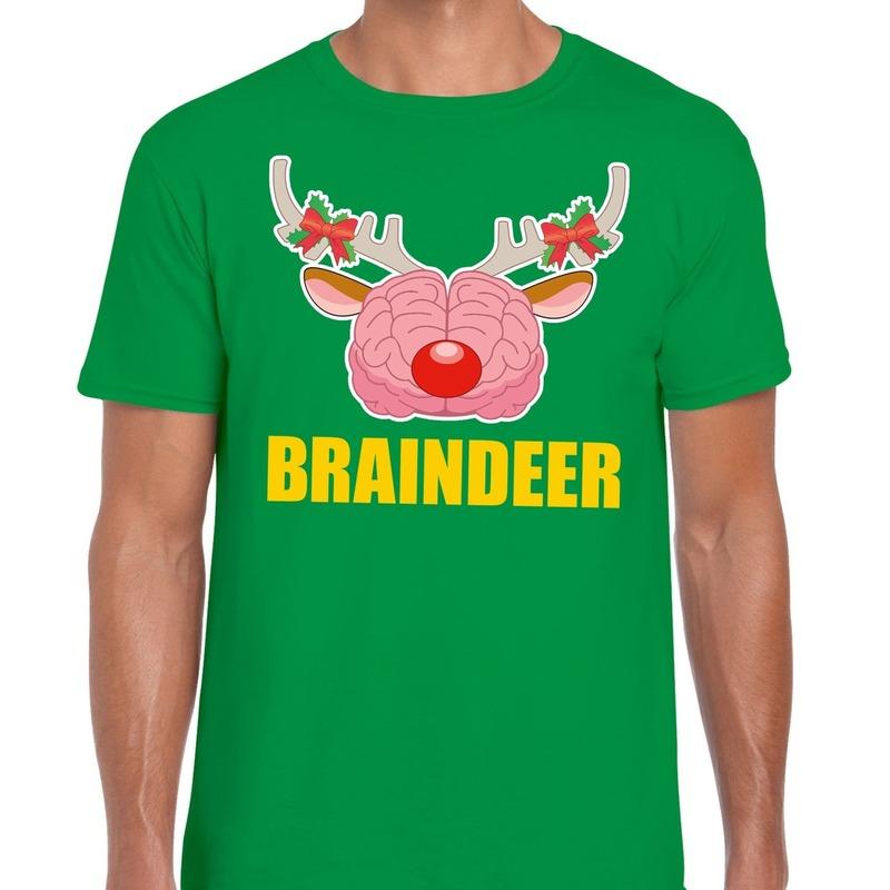 Foute Kerst t-shirt braindeer groen voor heren