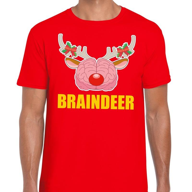 Foute Kerst t-shirt braindeer rood voor heren