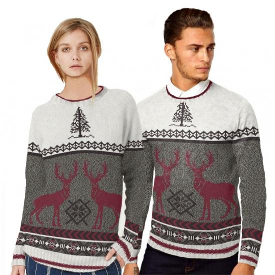 Kersttrui met rendieren voor heren. wit met grijze kersttrui met bordeaux rode rendieren. de kersttrui is ...