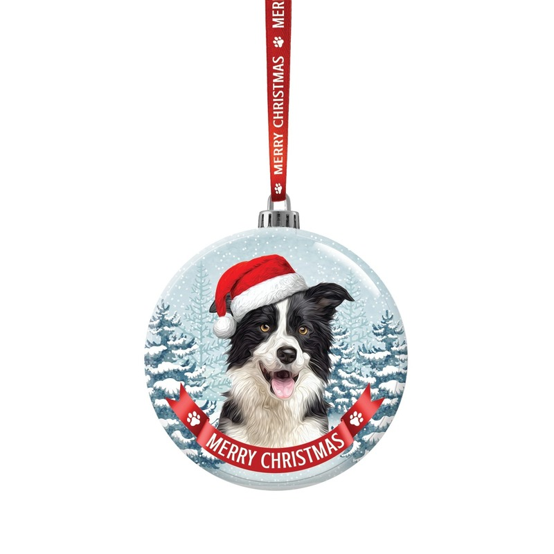 Huisdieren kerstballen honden Border Collie 7 cm van glas