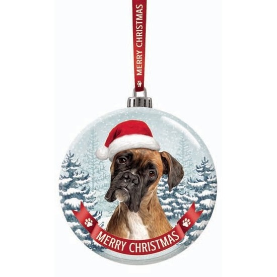 Huisdieren kerstballen honden Boxer 7 cm van glas