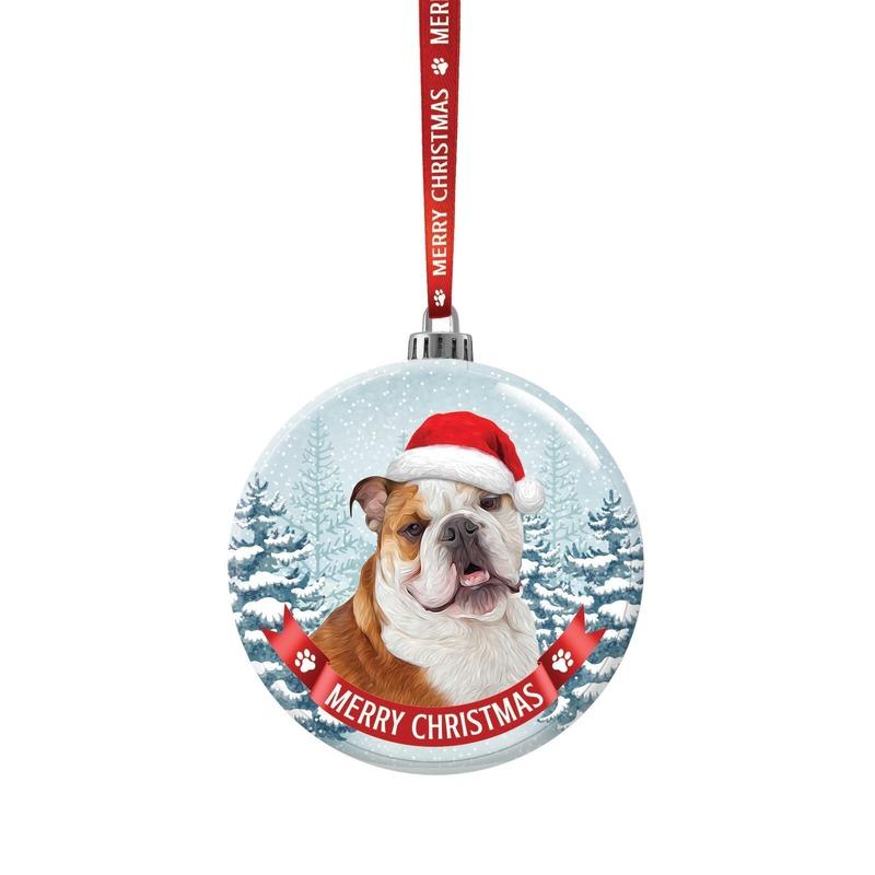 Huisdieren kerstballen honden Bulldog 7 cm van glas