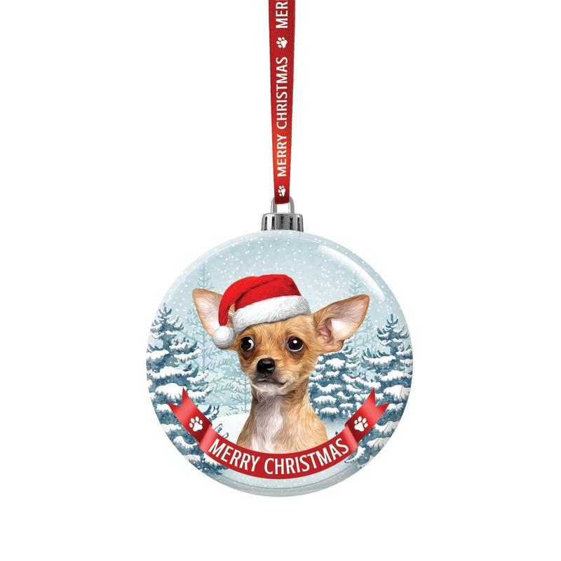 Huisdieren kerstballen honden Chihuahua 7 cm van glas