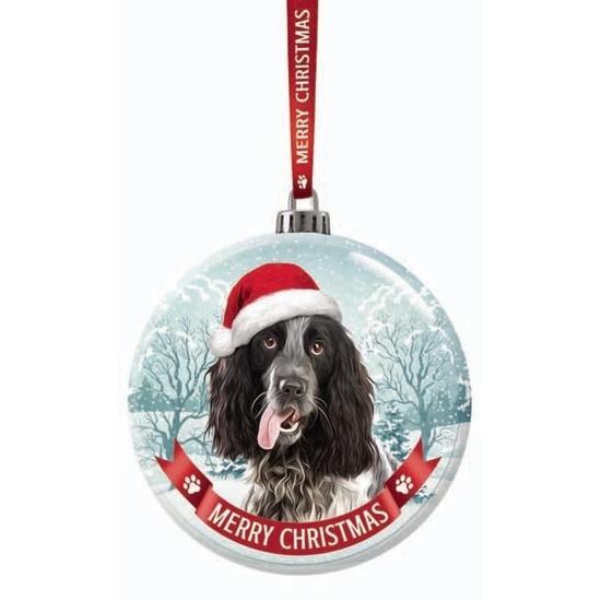 Huisdieren kerstballen honden Engelse Cocker Spaniel zwart-wit 7 cm van glas