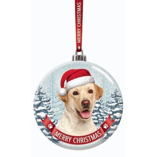 Huisdieren kerstballen honden Labrador blond 7 cm van glas