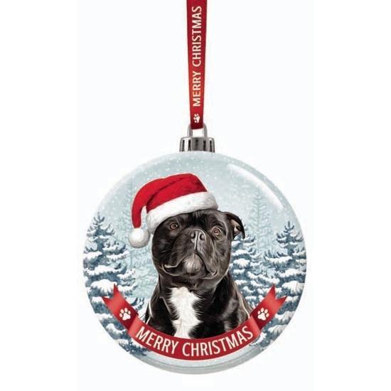 Huisdieren kerstballen honden Staffordshire Bull Terrier 7 cm van glas