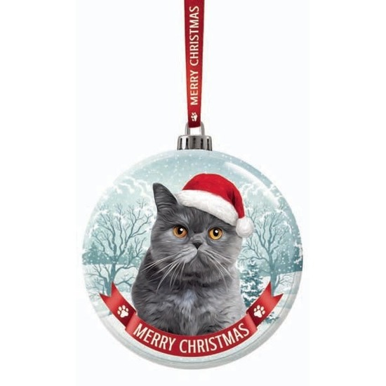 Huisdieren kerstballen katten-poezen grijs 7 cm van glas
