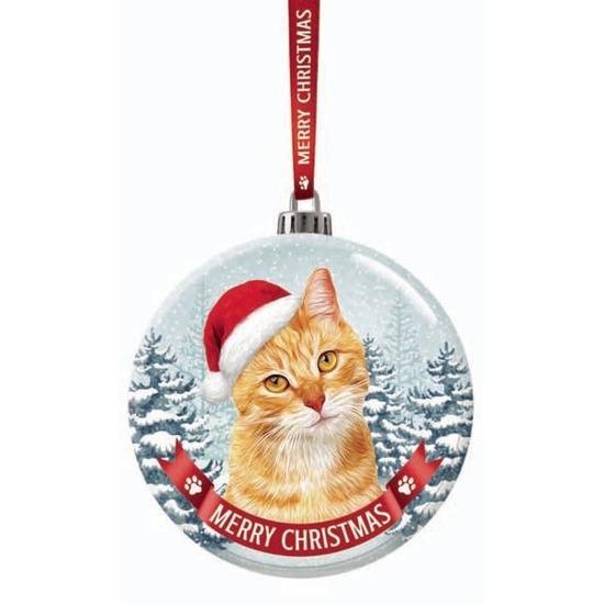 Huisdieren kerstballen katten-poezen rood 7 cm van glas