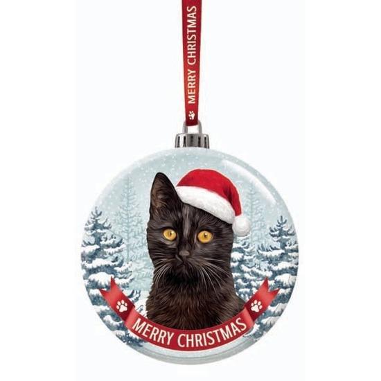Huisdieren kerstballen katten-poezen zwart 7 cm van glas