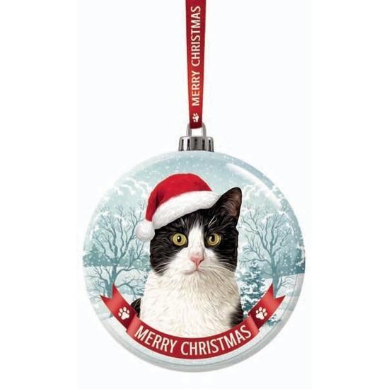 Huisdieren kerstballen katten-poezen zwart-wit 7 cm van glas