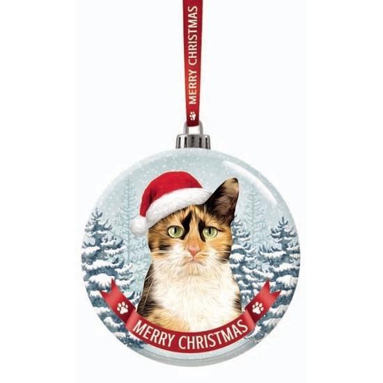 Huisdieren kerstballen lapjes katten-poezen 7 cm van glas
