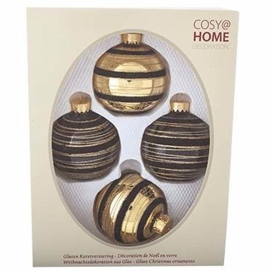 Kerstballen pakket 4 x zwart-goud