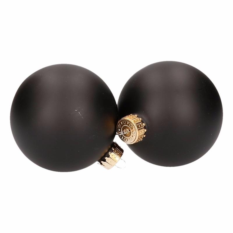Kerstballen pakket 4 x zwart-mat