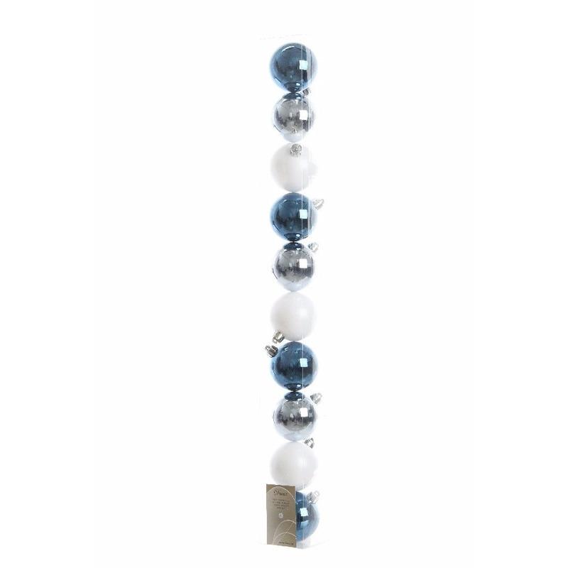 Kerstboomversiering blauwe ballen 6 cm