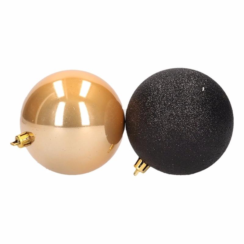 Kerstboomversiering gouden en zwarte ballen 7 cm