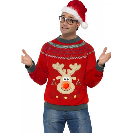 Kerstmis trui met rendier en licht
