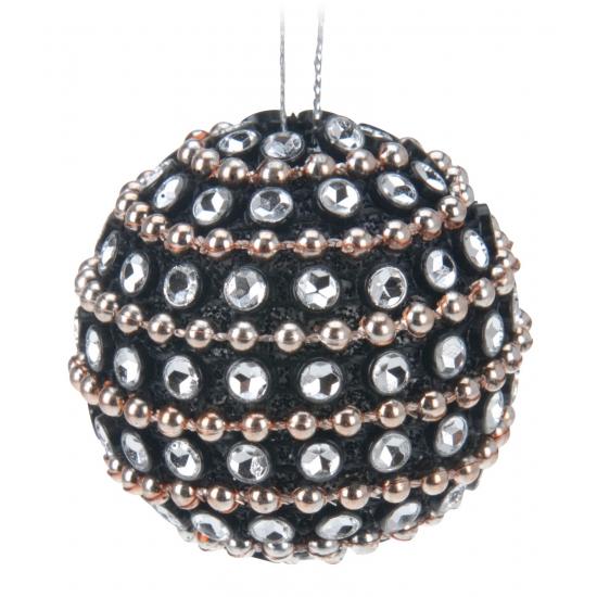 Kerstversiering zwarte kerstballen 3,5 cm