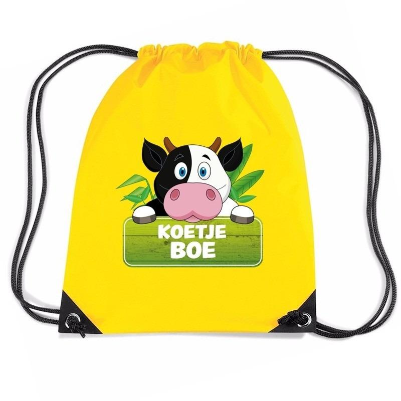Koetje Boe koeien rugtas / gymtas geel voor kinderen