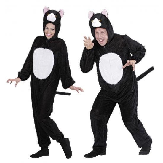 Onesie dierenpak van een kat. luxe zwart met wit katten kostuum bestaande uit 1 geheel. het kostuum is ...