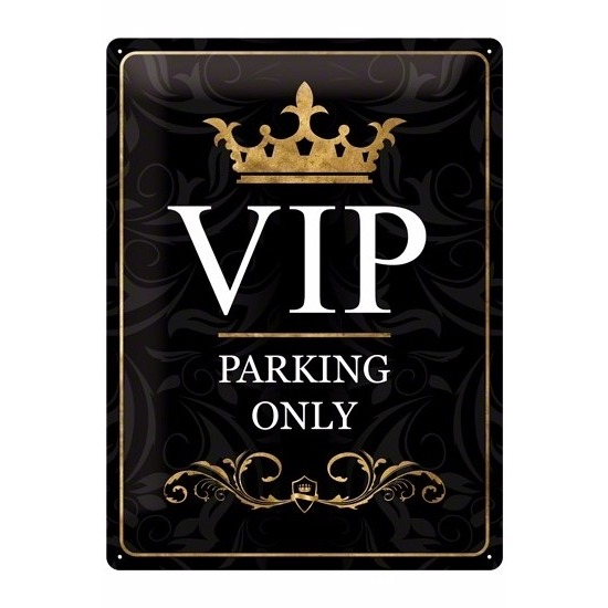 Metalen plaat voor aan de muur VIP only