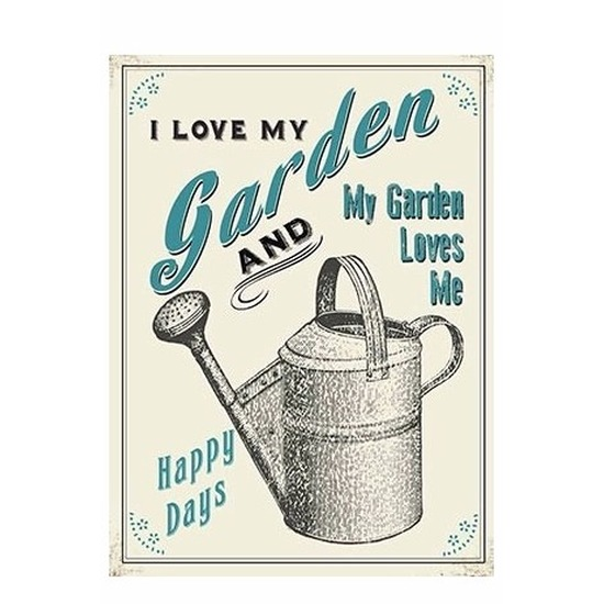 Metalen tuinman-tuinvrouw reclamebord I Love My Garden 15 x 20