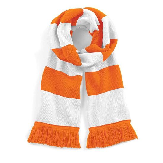 Oranje met witte retro sjaal 182 cm