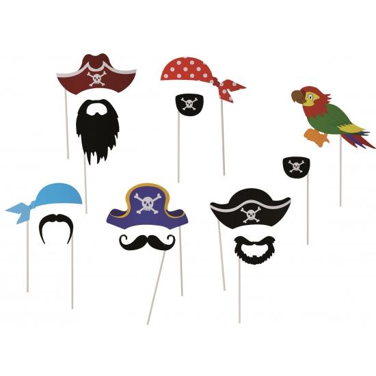 Piraten accessoires op stokje 12 stuks