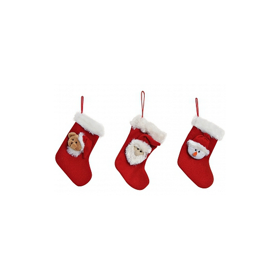 Mini kerstsok met kerstman. rode kerstsok met een kerstmantje. formaat: ongeveer 12 x 17 cm.
