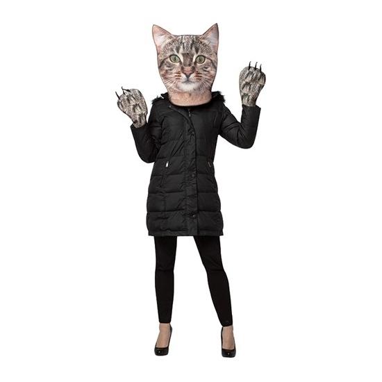 Cyperse kat verkleedset voor volwassenen. de set bestaat uit een foam masker met kijkgat op de neus en foam ...