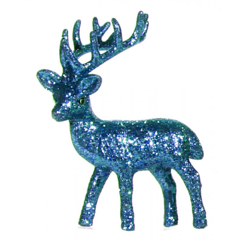 Plastic rendier met turquoise glitters. het decoratie rendier kan rechtop staan en heeft een formaat van 4 x ...