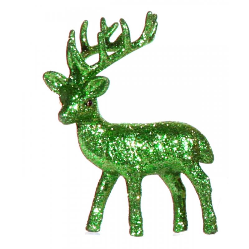 Plastic rendier met groene glitters. het decoratie rendier kan rechtop staan en heeft een formaat van 4 x 8 x ...