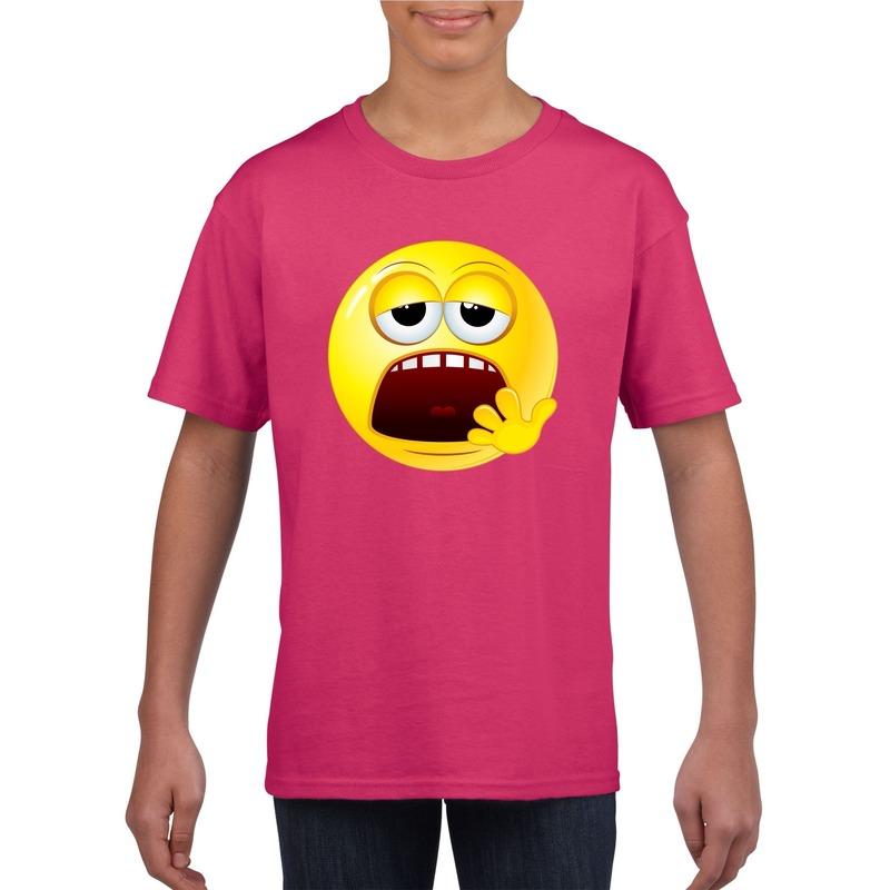 Smiley t-shirt moe roze kinderen
