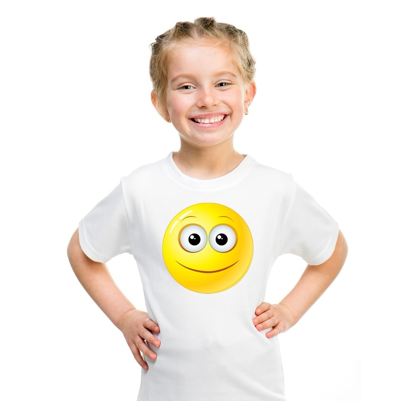 Smiley t-shirt vrolijk wit kinderen