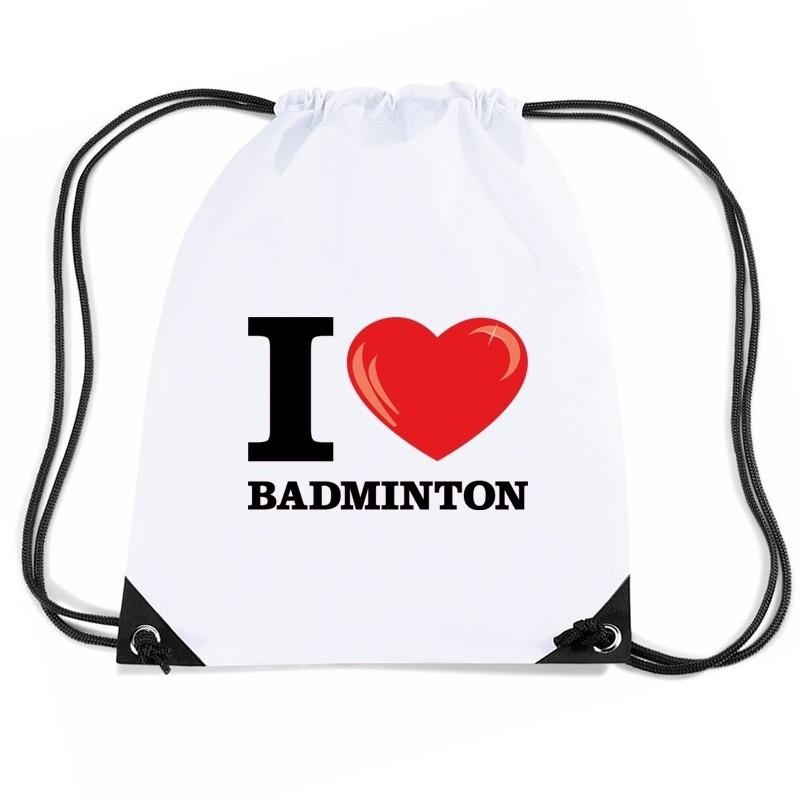 Sporttas met trekkoord I love badminton