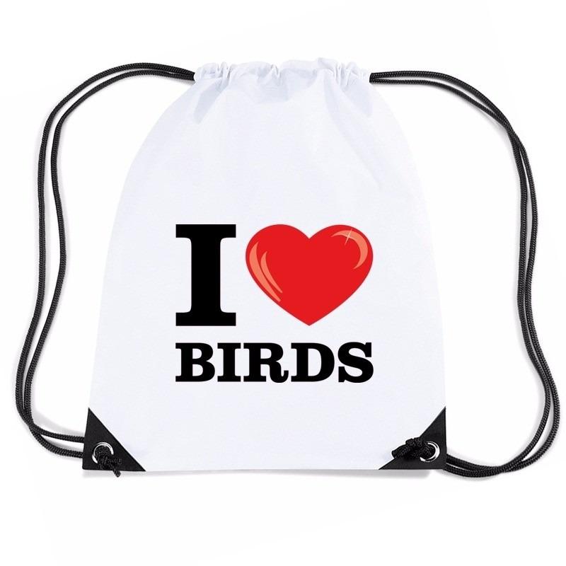 Sporttas met trekkoord I love birds/ vogels