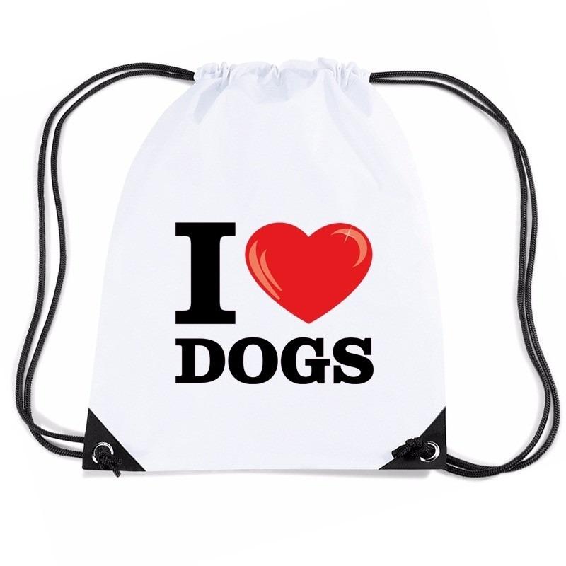 Sporttas met trekkoord I love dogs/ honden