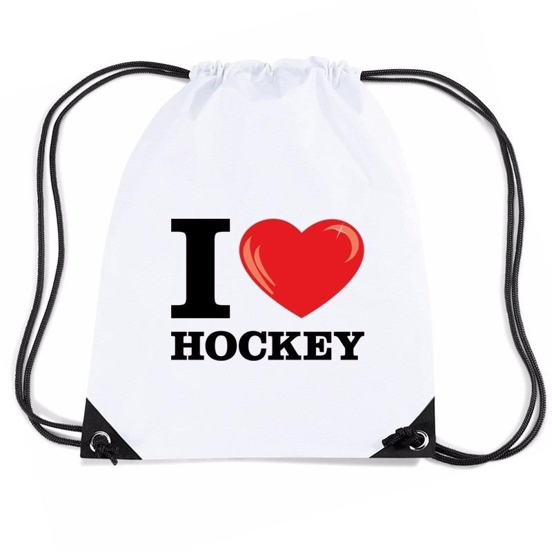 Sporttas met trekkoord I love hockey