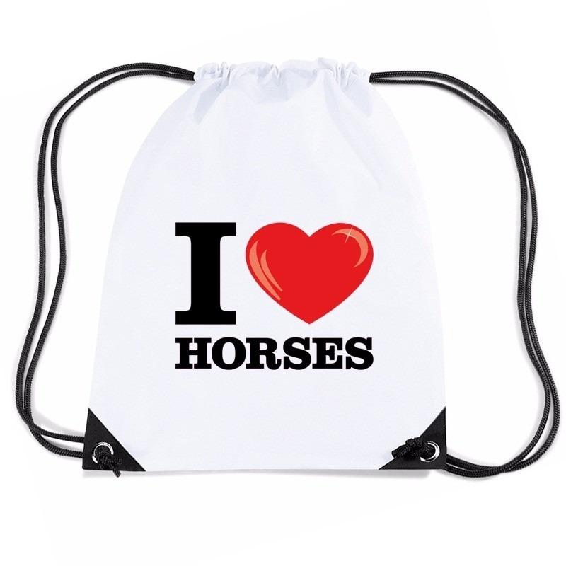 Sporttas met trekkoord I love horses/ paarden