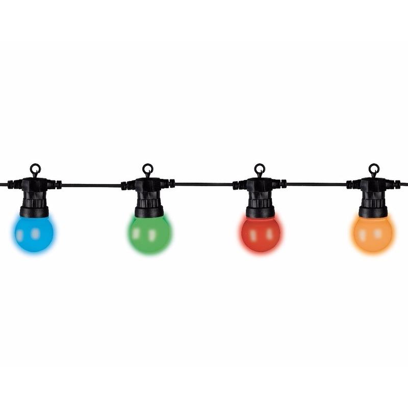 Startset met verlengsnoer 20 multi kleur LED bal lampen buiten