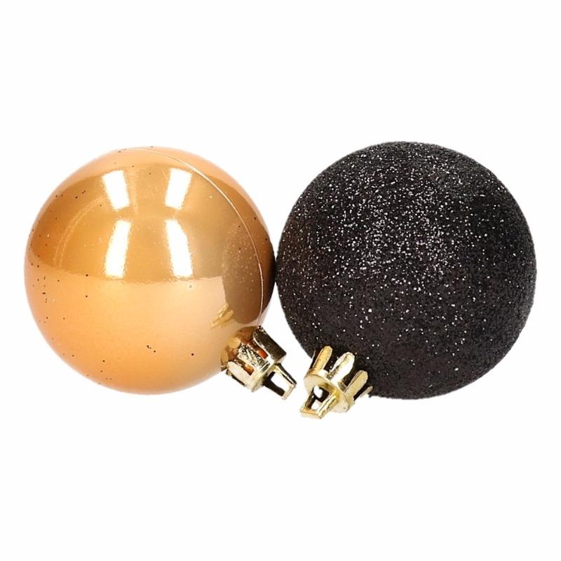 Stylish Christmas kerstboomversiering gouden en zwarte ballen 5 cm