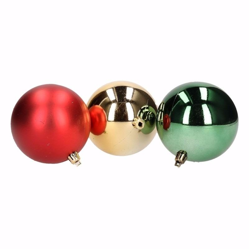 Traditional Christmas kerstboomversiering groene en rode ballen 5 cm