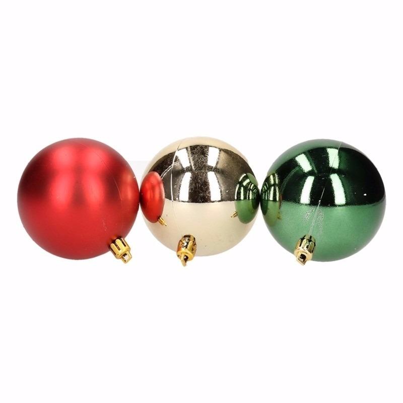 Traditional Christmas kerstboomversiering groene en rode ballen 6 cm