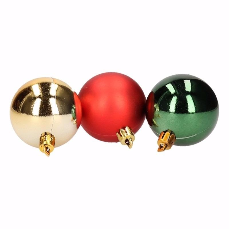 Traditional Christmas kerstboomversiering groene en rode ballen 8 cm