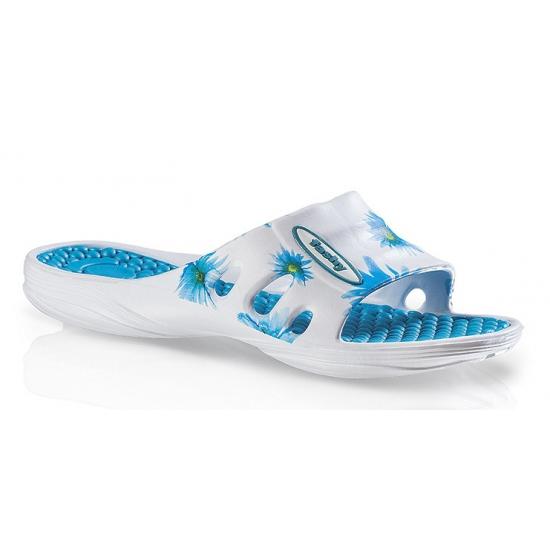 Trendy slippers met blauwe bloemen voor dames