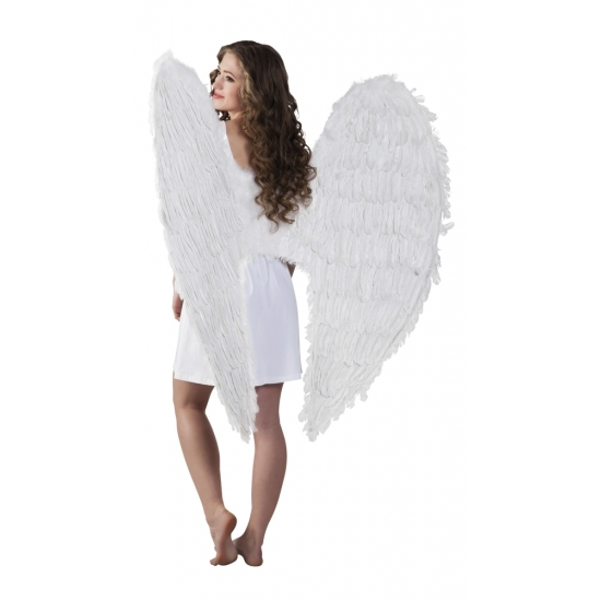 Verkleed accessoires witte vleugels 120 cm