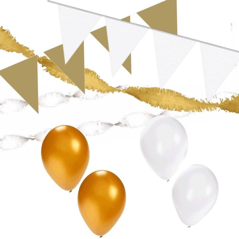 Wit-Gouden feest versiering pakket huiskamer