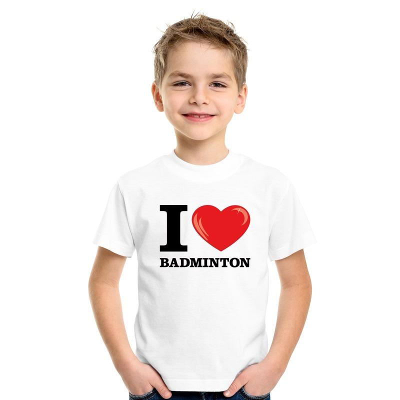 Wit I love badminton t-shirt kinderen