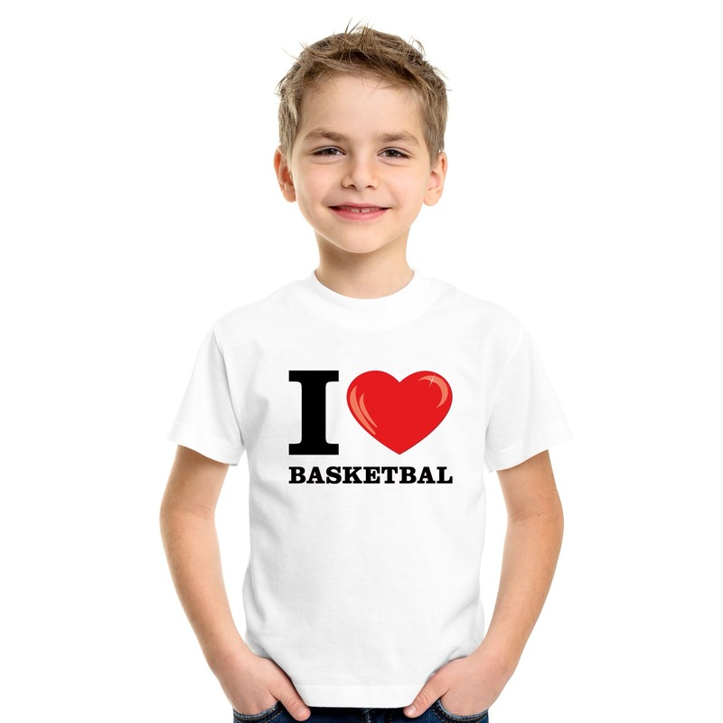 Wit I love basketbal t-shirt kinderen