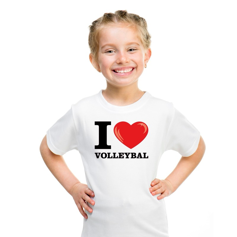 Wit I love volleybal t-shirt kinderen