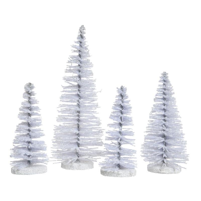 witte kleine kunst kerstboom glitter 15 cm 4 stuks